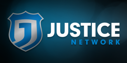 Justice Network Logo: Blue Background